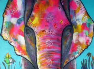 LEELA - mixed media with acrylic. A very special painting of the childhood pet of my Indian friend, I painted this in my cottage in India and donated it to my wonderful friends there. I am happy to paint a similar picture to commission, and this is available as a print and other merchandise.