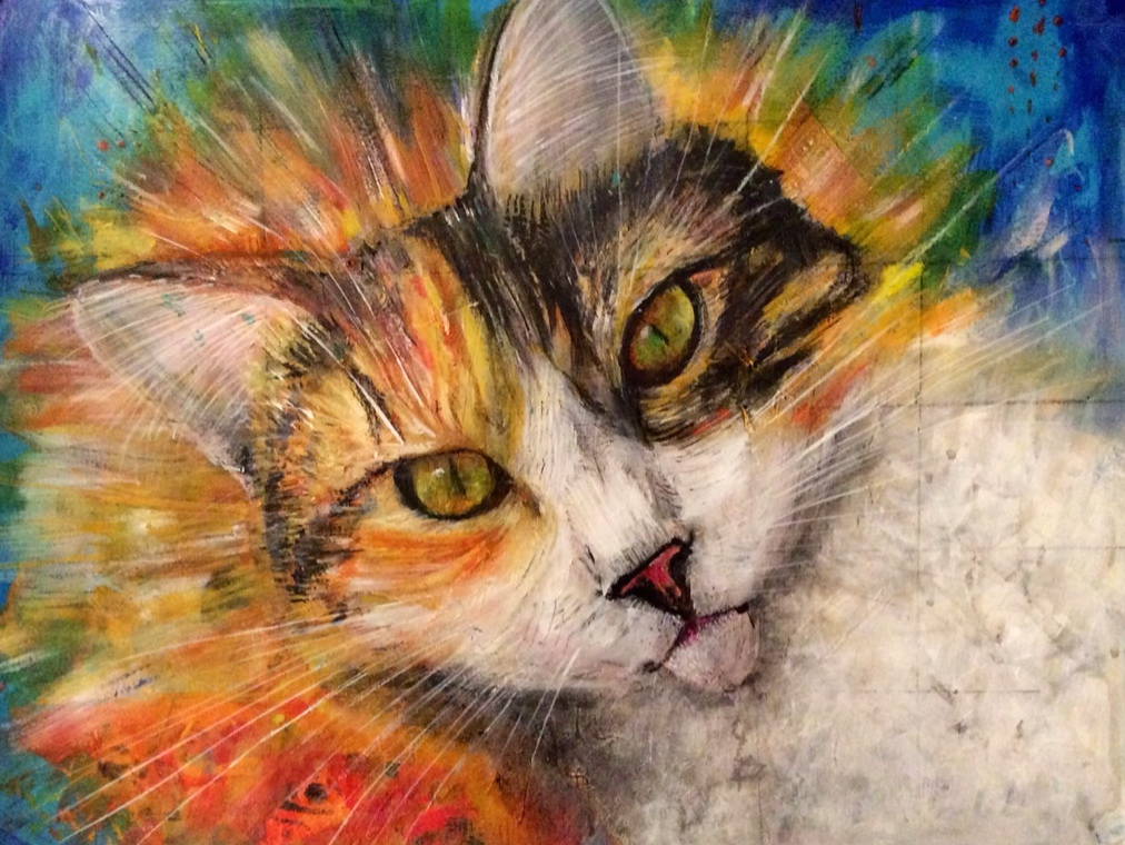 "Gracie is a mischievous but loving ball of fur who mirrors my personality in many ways! This is painted on paper. approx 11""x15"" and now framed."