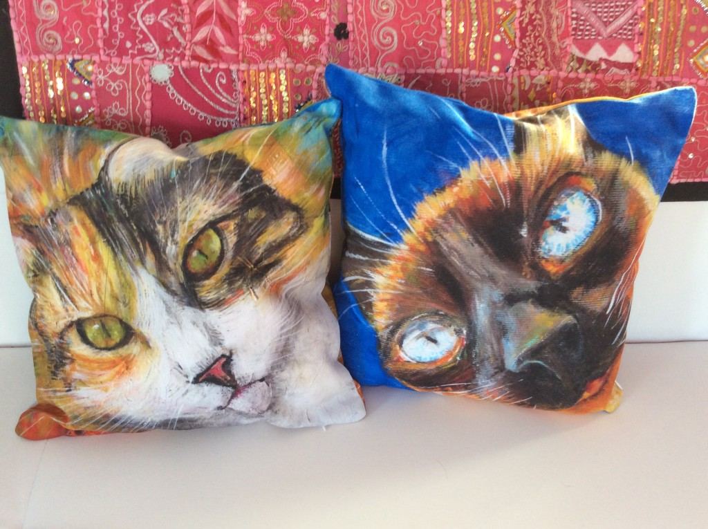 Cushions from my favourite portraits of my two cats, Gracie and Diana