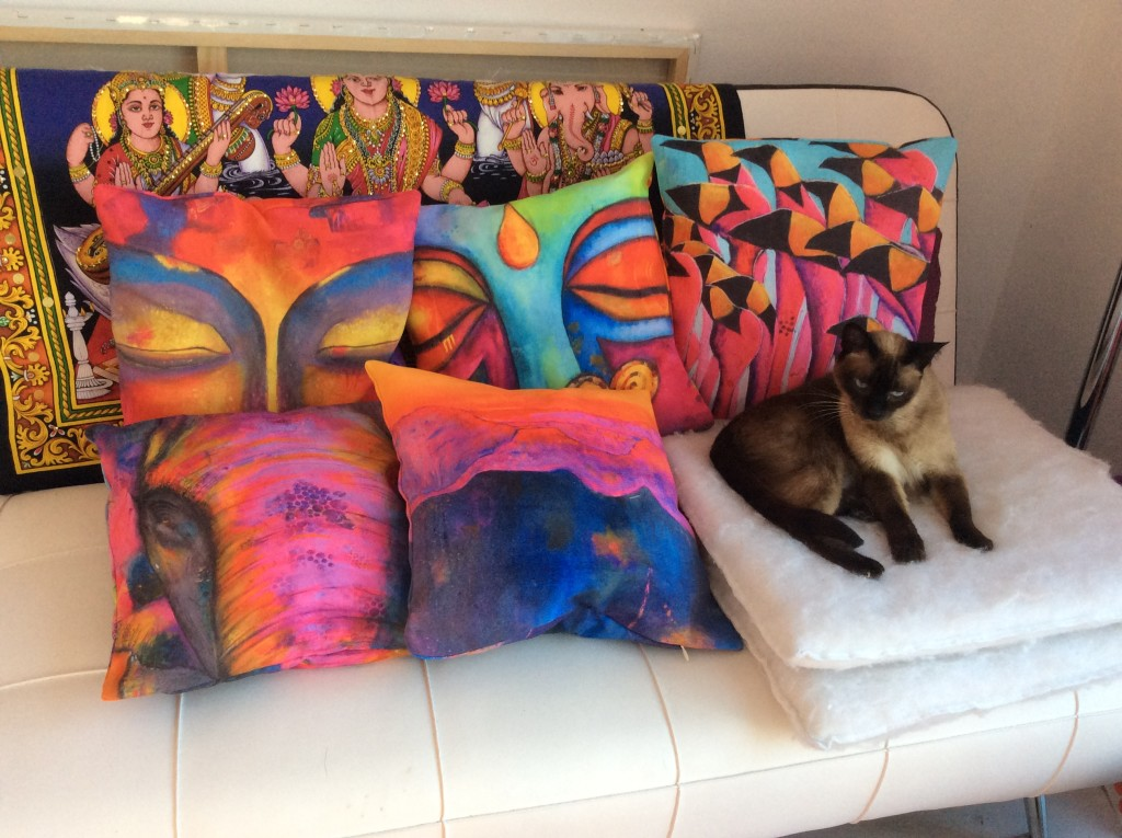 A selection of my cushions plus cat!